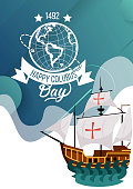 Happy Columbus Day poster with sailing ship. Vessel floating on the sea waves greeting or invitation card. Caravel Santa Maria vector illustration. Isolated on white