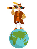 Happy Columbus Day with Columb looking at spyglass. United States national holiday greeting or invitation card with great spanish sailor standing on globe with glass vector illustration