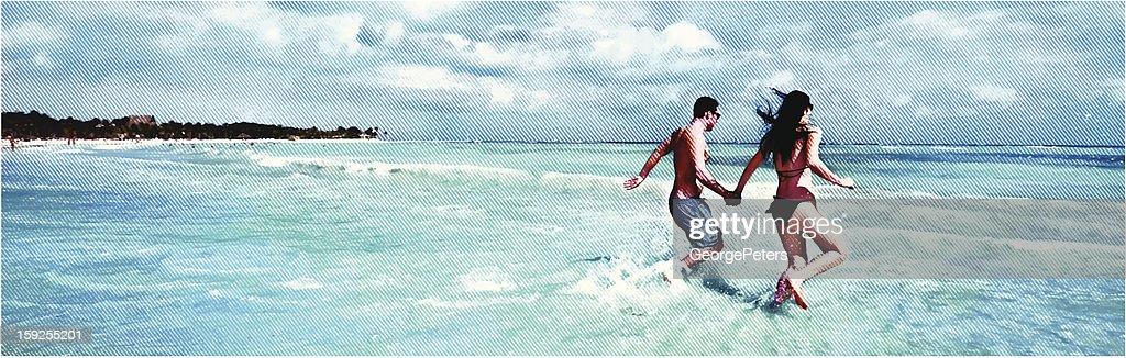 Happy Couple Running On The Beach : Vector Art