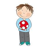 Happy cute little boy with ball - original hand drawn illustration