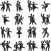 Happy dancing people icons. Modern dance class vector silhouette symbols. Illustration of dance people, female and male, monochrome dancer performance