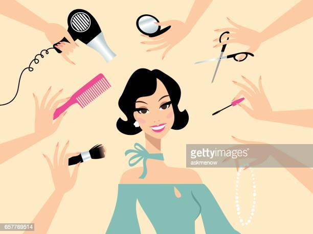 Frau glücklich dunkles Haar in einem Schönheitssalon