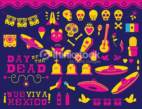 Happy Day Of The Dead Traditional Mexican Icon Set Vector Art