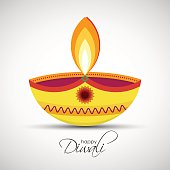 Festival of lights Deepavali. Happy Diwali abstract background. Vector illustration of Diya oil lamp for your greeting card design