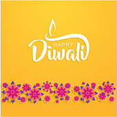 happy diwali lettering with flower usable for greeting card
