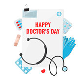 Happy Doctors Day Concept. Medical and healthcare supply. Vector illustration