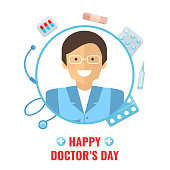 Happy Doctors Day Concept. Doctor with medical and healthcare supply. Vector illustration