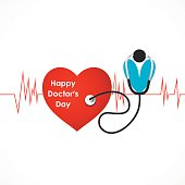 doctor's with stethoscope and heart with heart beat design vector