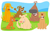 Cartoon Illustration of Happy Dogs and Puppies Pet Animal Characters Group