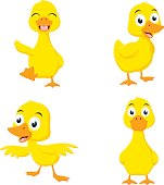 Vector Illustration of Happy duck cartoon collection set