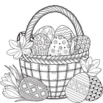 Feliz Pascua De Resurrección Negro Y Blanco Doodle Huevos De Pascua ...