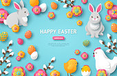 Happy Easter Blue Background with Easter Symbols. Vector Illustration. Spring Holiday Concept, place for text. Easter template design, greeting card. Flat Icons - Chicken, Rabbit, Flowers and Eggs