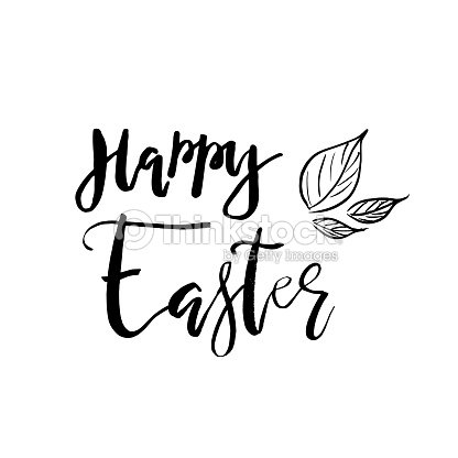 Happy Easter Card With Calligraphy Text Vector Template For