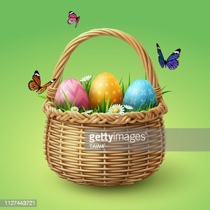 Happy Easter, colorful eggs in basket with butterfly and grass : stock vector