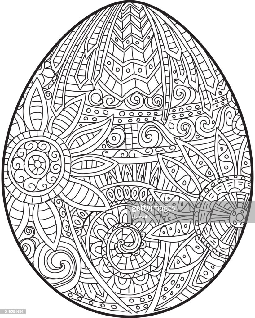 Happy Easter Coloring Book Page Egg Design With Text Greeting Vector Art