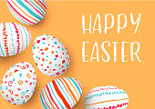 Happy Easter eggs frame with text. Colorful easter eggs on golden background. hand font. Scandinavian ornaments. simple orange, red, blue stripes, patterns , confetti, vector illustration