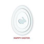 Happy Easter greeting card. A paper card in a craft paper cut style with grey egg layers and rabbit. Vector illustration. Greeting card easter bunny, egg for design of invitation gift, present.