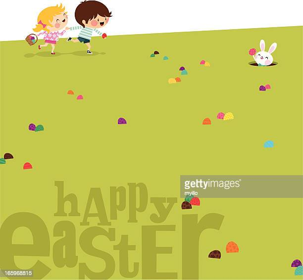 Happy easter Kids bunny eggs grass illustration vector myillo