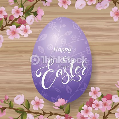 Happy Easter lettering, painted colorful eggs. Spring holidays, Easter background, blossom tree. Vector illustration EPS10.