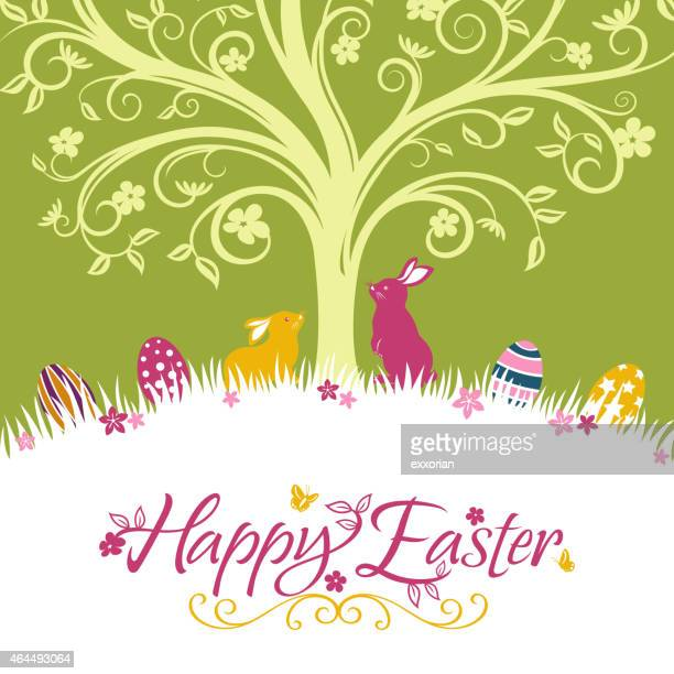 Happy Easter Rabbit in Spring Background