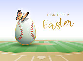 Happy Easter. Easter egg in the form of a baseball ball with Butterfly. Vector illustration.
