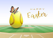 Happy Easter. Easter egg in the form of a softball ball with Butterfly. Vector illustration.