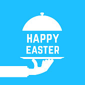 happy easter text like white serving hand. concept of caterer dish, traditional, cafe maintenance, service staff. flat style trend graphic art design element isolated on blue background