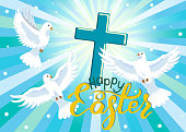 Happy Easter. Three doves and cross in blue sky. Easter greeting card. Vector illustration.