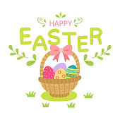 Easter,eggs,basket, lettering,happy,holiday,ribbon,grass,greeting