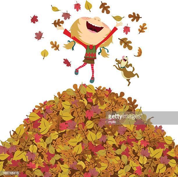 Chica feliz otoño