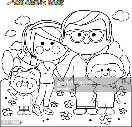 Happy family at the park coloring book page vector art