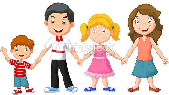 Familia Feliz De Dibujos Animados Sosteniendo Las Manos Arte