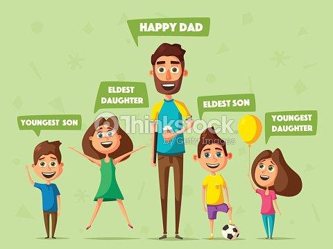 Familia Feliz Vector Ilustración De Dibujos Animados Arte Vectorial