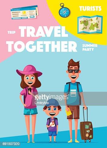 Familia Feliz En El Viaje Viaje De Los Padres Y El Niño Vector