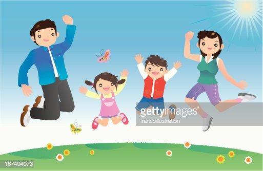 Happy family jumping against blue sky : Vector Art