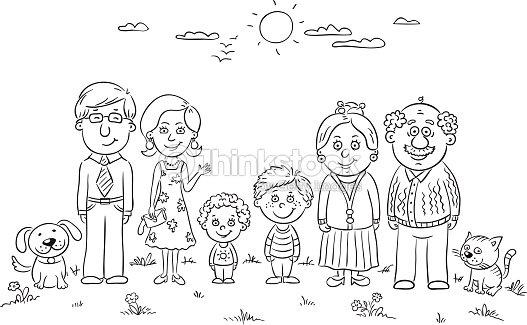 Feliz Family Contorno Arte Vectorial