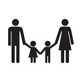 Happy family. Parents and kids. Mother, father, son and daughter. Icon. Vector illustration.