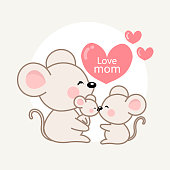 Happy family's day. Greeting card with cute dad mom and baby mouse. Vector illustration in cartoon style.