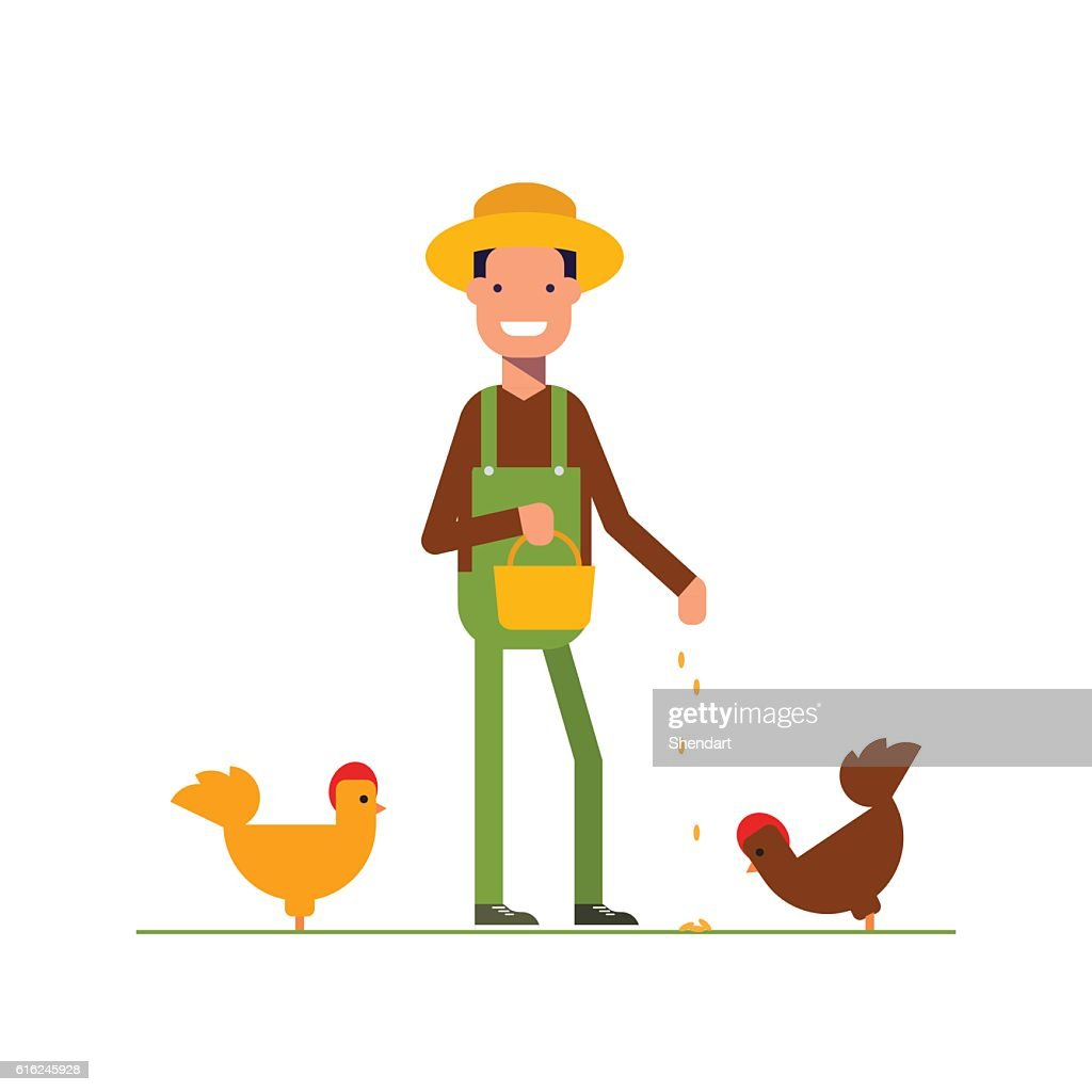 Happy farmer in a straw hat feeds the chickens. The : Vector Art
