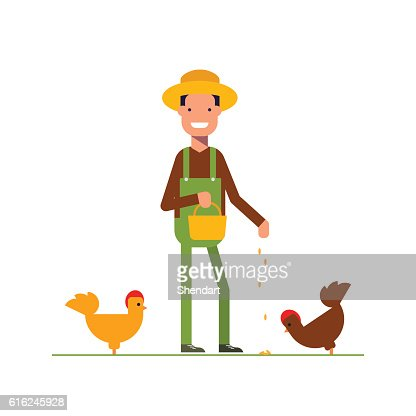 Happy farmer in a straw hat feeds the chickens. The : Arte vettoriale