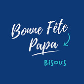 Happy fathers day card. Blue background. French version. Editable vector design.