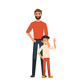 Happy Father's Day. Dad with his son standing. the parent put his hand on his son's shoulder. Tenderness and care