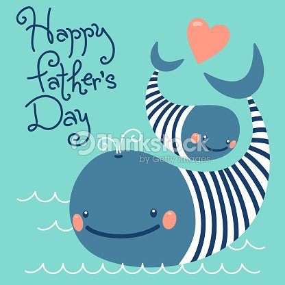 Happy Fathers Day Card With Cute Whales stock vector ...