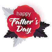 Happy Father's Day greeting card with a realistic flower background.