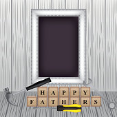 happy fathers day grunge background large board wood cubes hammer tools vector illustration