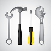 tools hammer screwdriver key spanner adjustable vector illustration