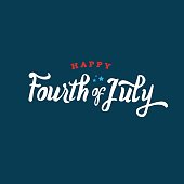 Calligraphic text treatment for Fourth of July