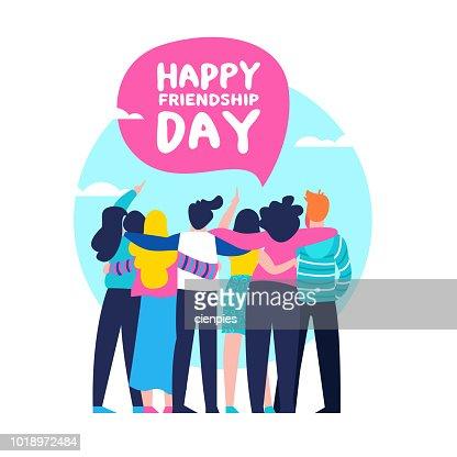 Happy Friendship day card of friend group team hug : stock vector