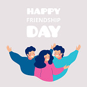 Happy friendship day greeting card with young people hugging each other. Group of friends celebrating together. Vector