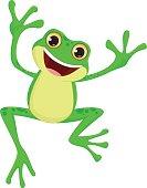 vector illustration of happy Frog cartoon jumping